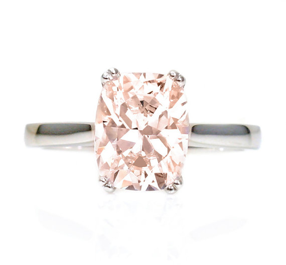 Cushion Cut Morganite Ring Etsy
