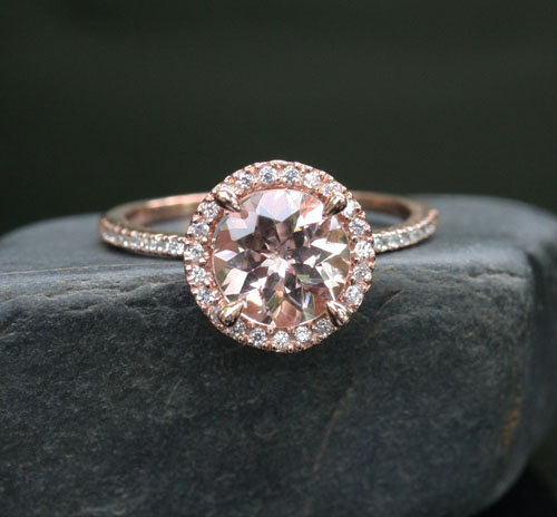 Morganite Single Halo Ring Eyst